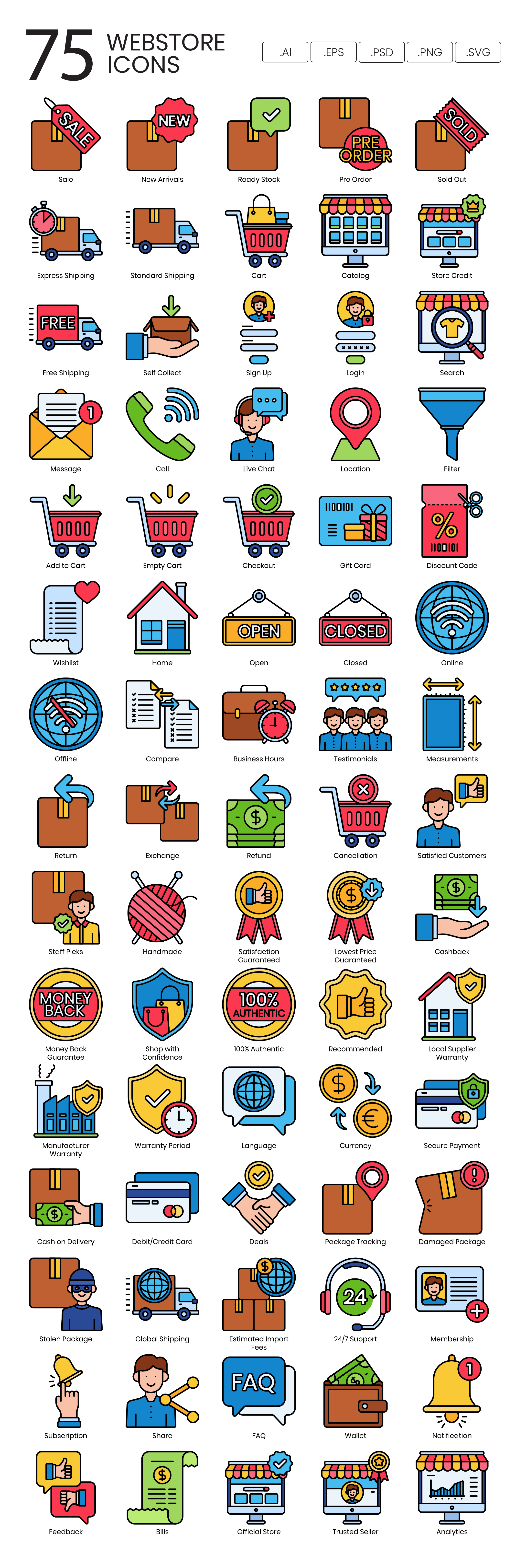 Online Shop Vector Icons Preview Image