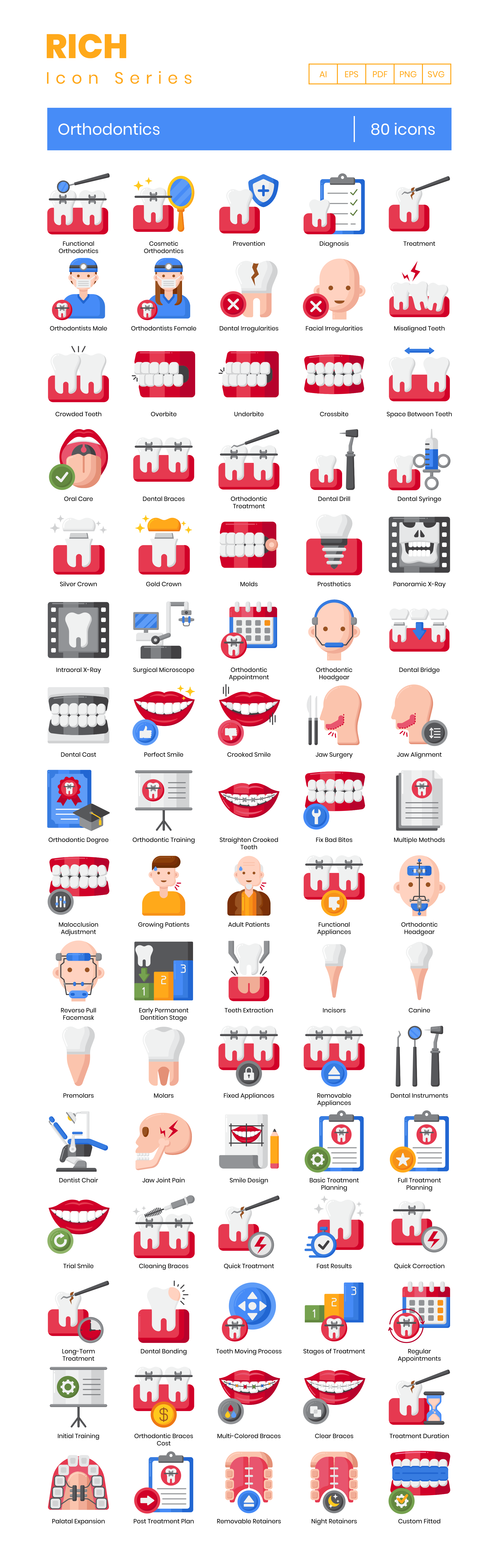 Orthodontics Vector Icons Preview Image