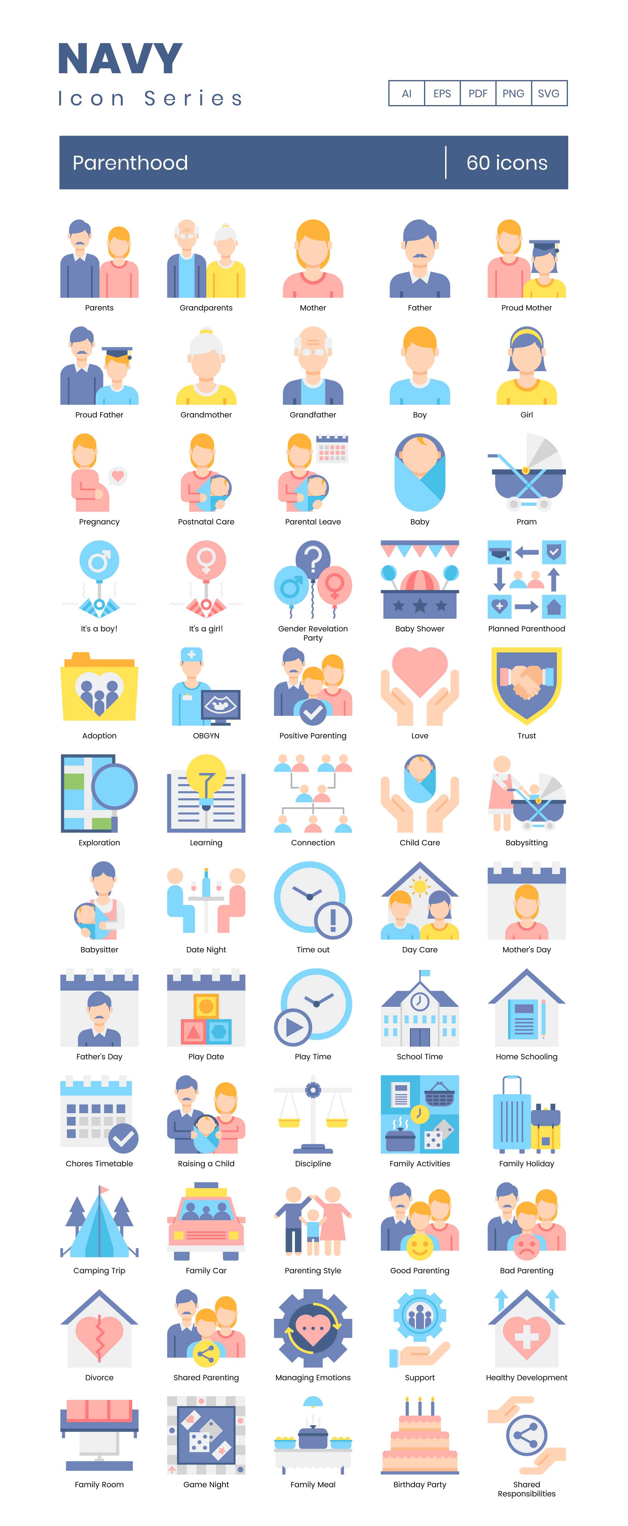 Parenthood Vector Icons Preview Image