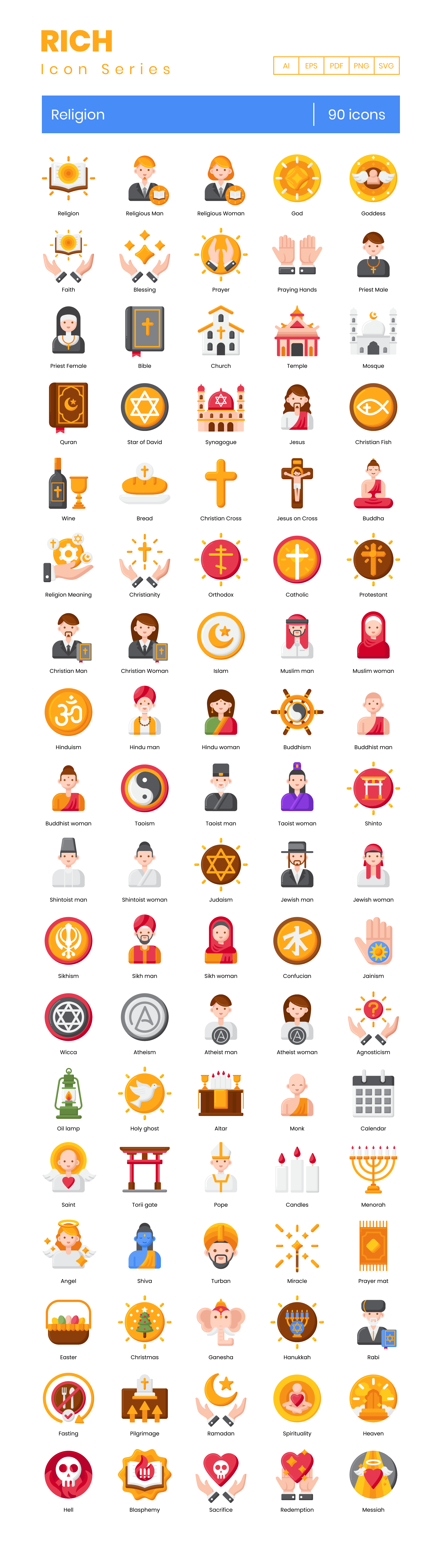 Religion Vector Icons Preview Image