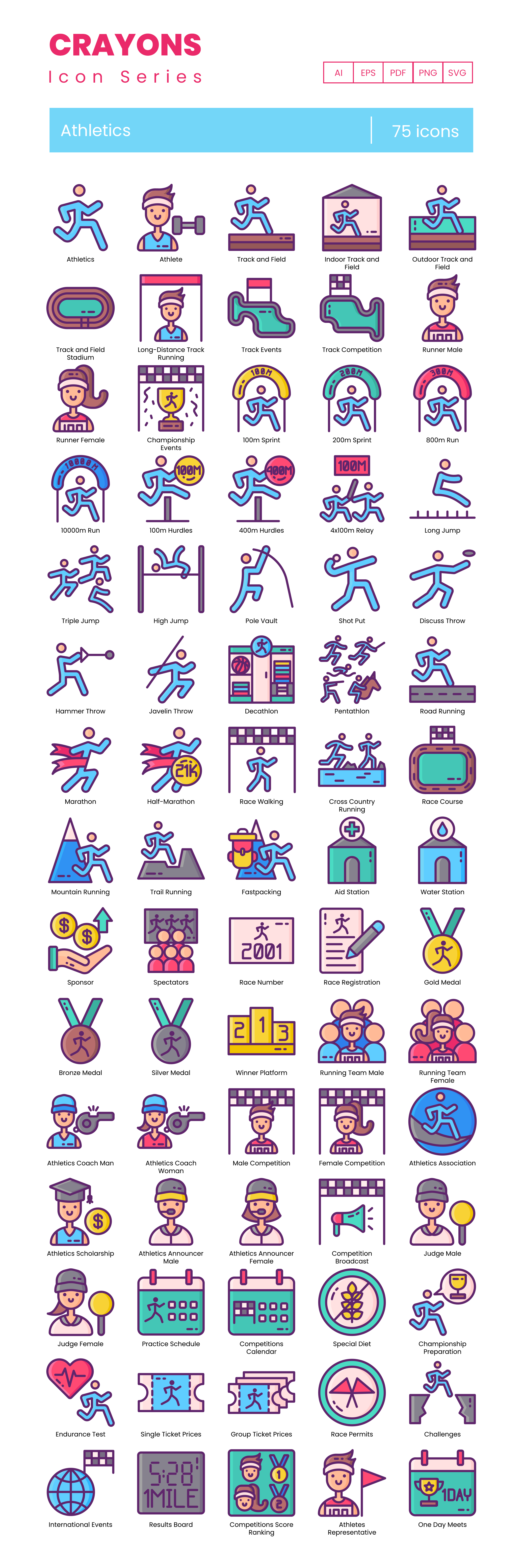 Track and Field Vector Icons Preview Image
