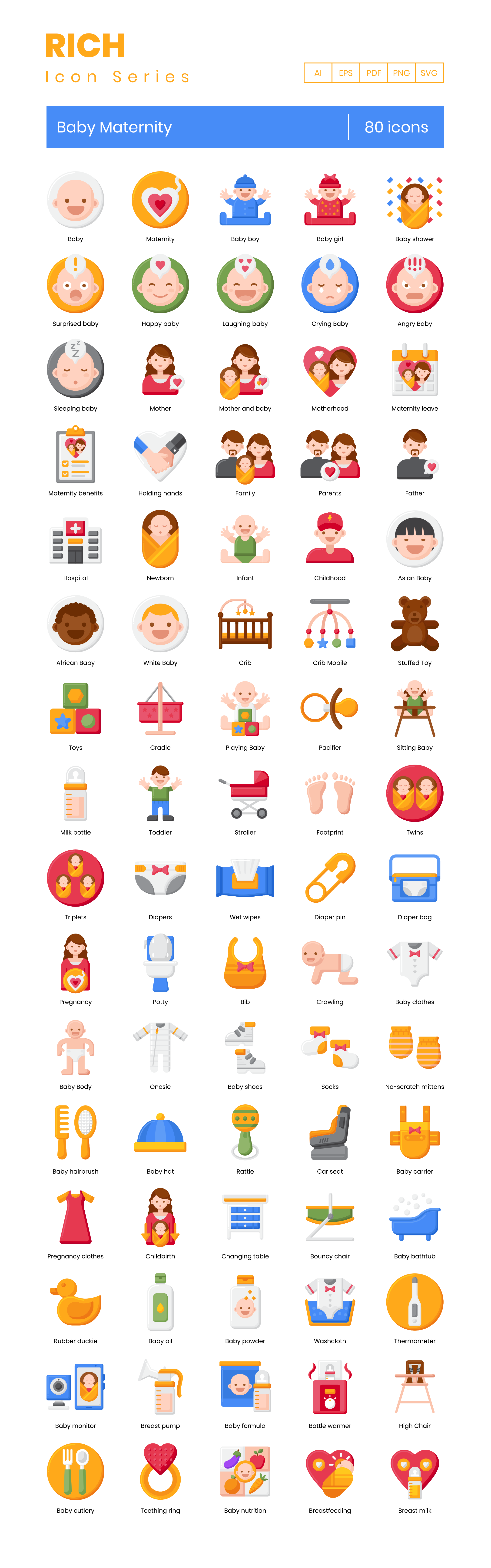 Baby Maternity Vector Icons Preview Image