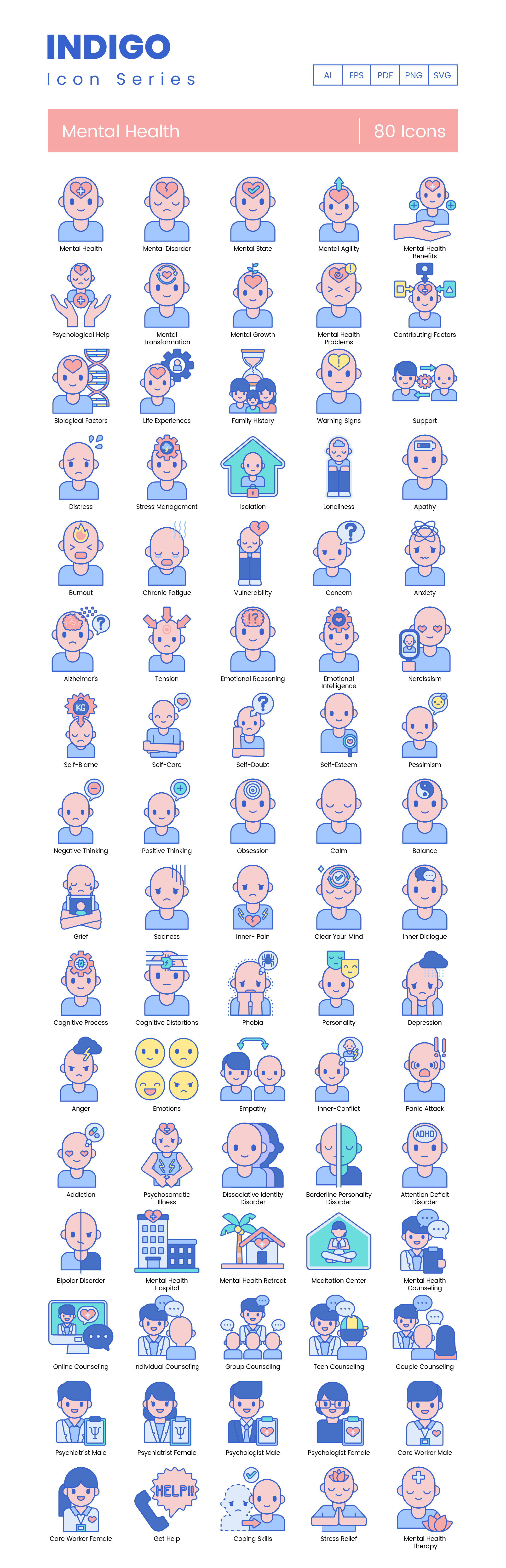 Mental Health Vector Icons Preview Image