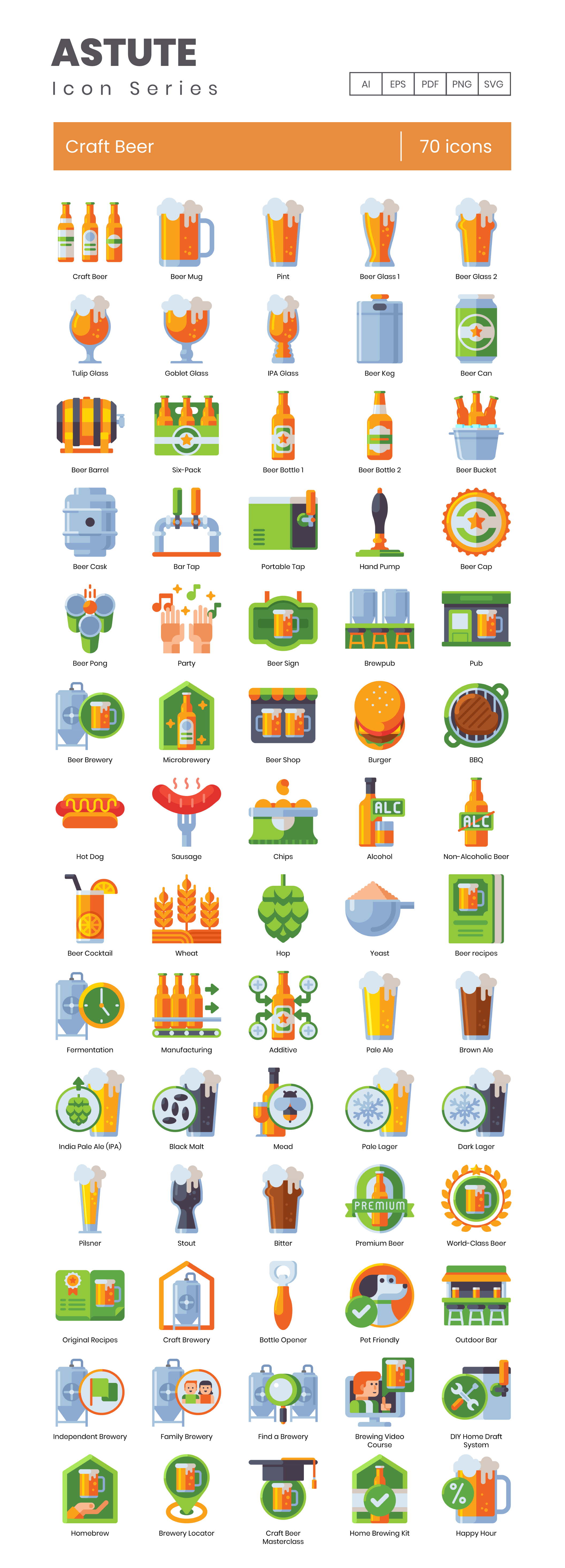 Craft Beer Vector Icons Preview Image