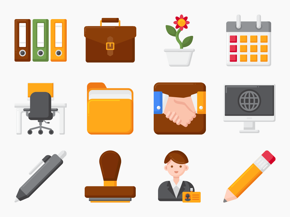 Office and Office Supplies Icon Set Featured Image