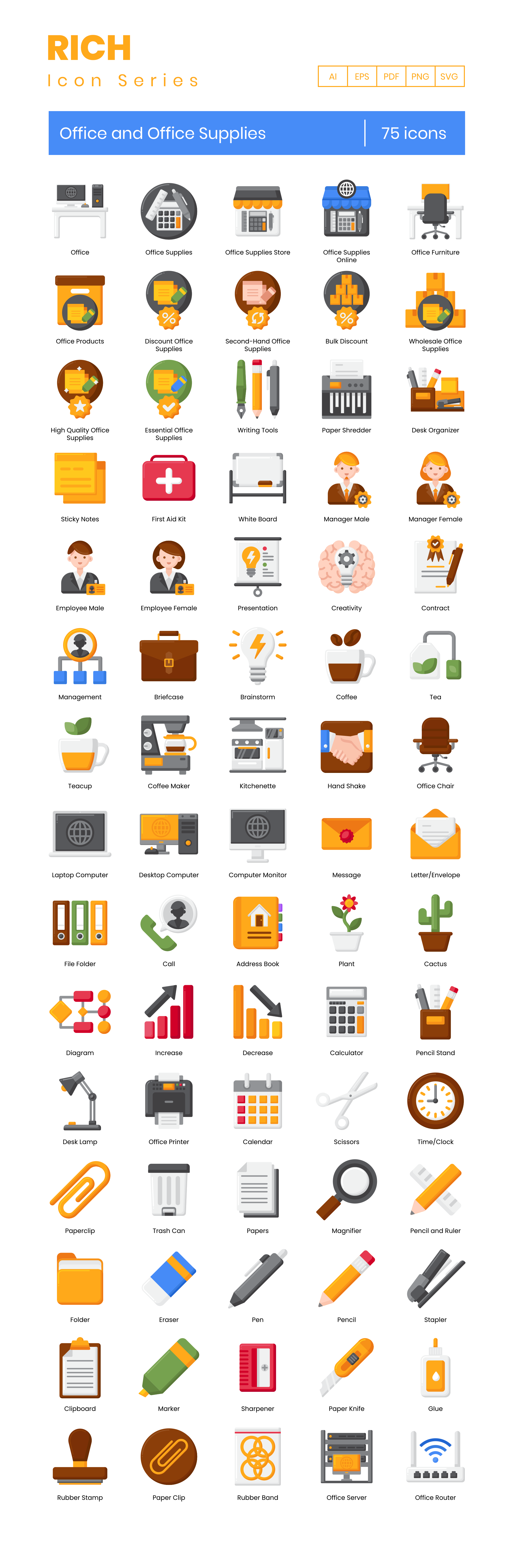 Office and Office Supplies Vector Icons Preview Image